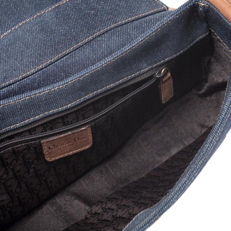 Dior Blue/Brown Denim and Leather Street Chic Shoulder Bag For Sale 2