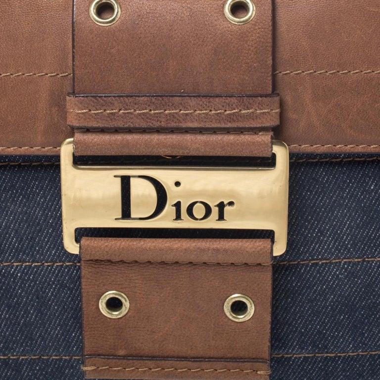 Dior Blue/Brown Denim and Leather Street Chic Shoulder Bag For Sale 3
