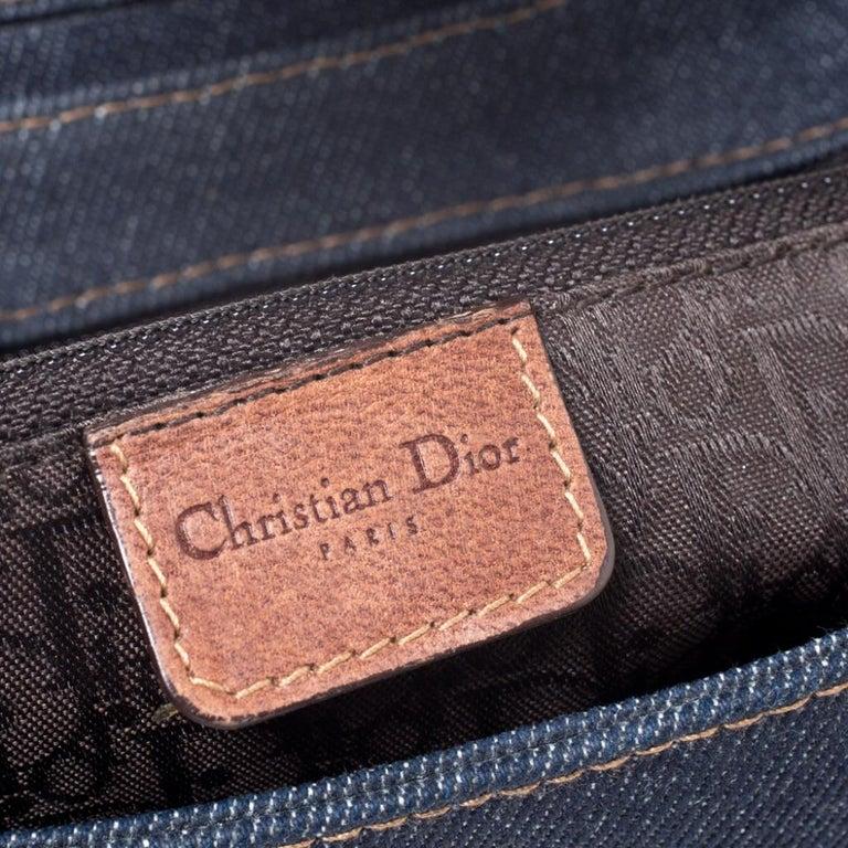 Dior Blue/Brown Denim and Leather Street Chic Shoulder Bag For Sale 5