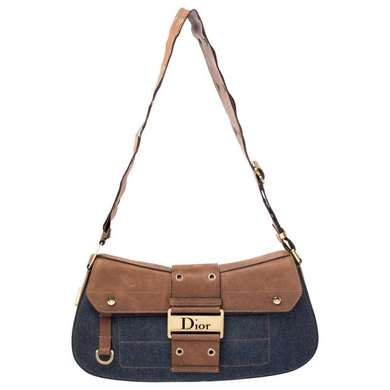 Dior Blue/Brown Denim and Leather Street Chic Shoulder Bag For Sale