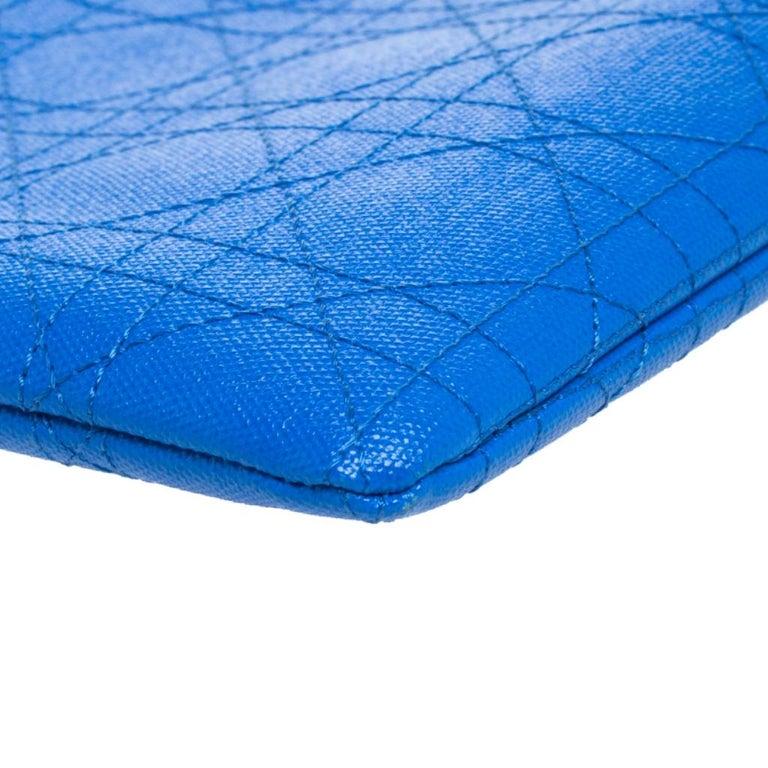 Dior Blue Cannage Coated Canvas Panarea Clutch For Sale 6