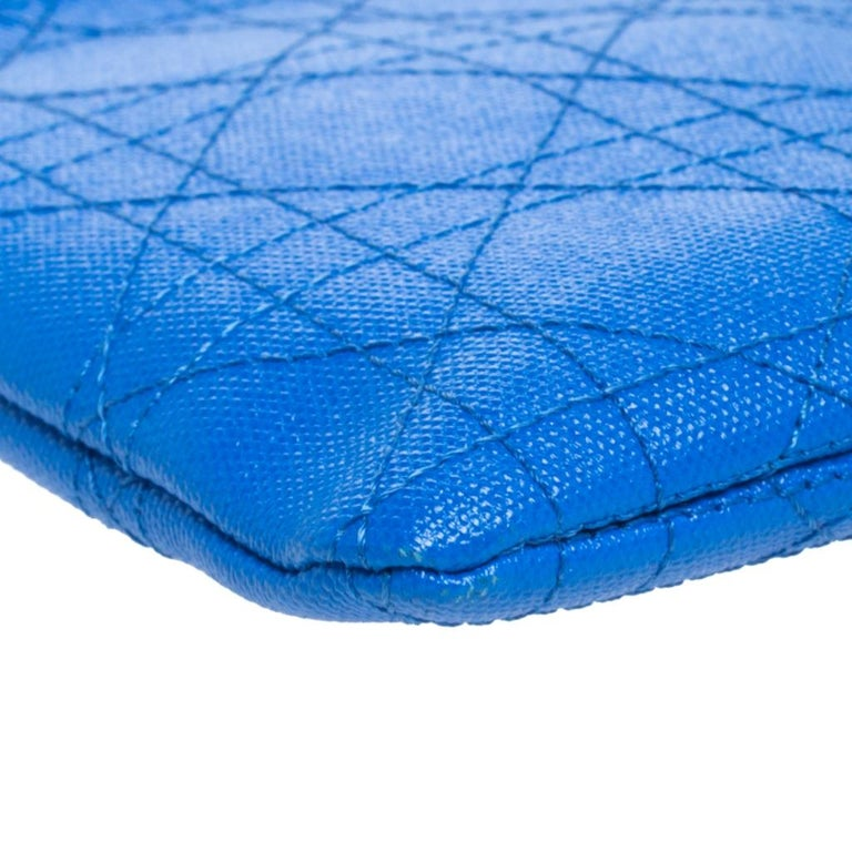 Dior Blue Cannage Coated Canvas Panarea Clutch For Sale 7