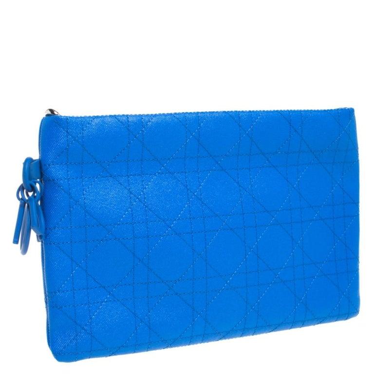 Women's Dior Blue Cannage Coated Canvas Panarea Clutch For Sale