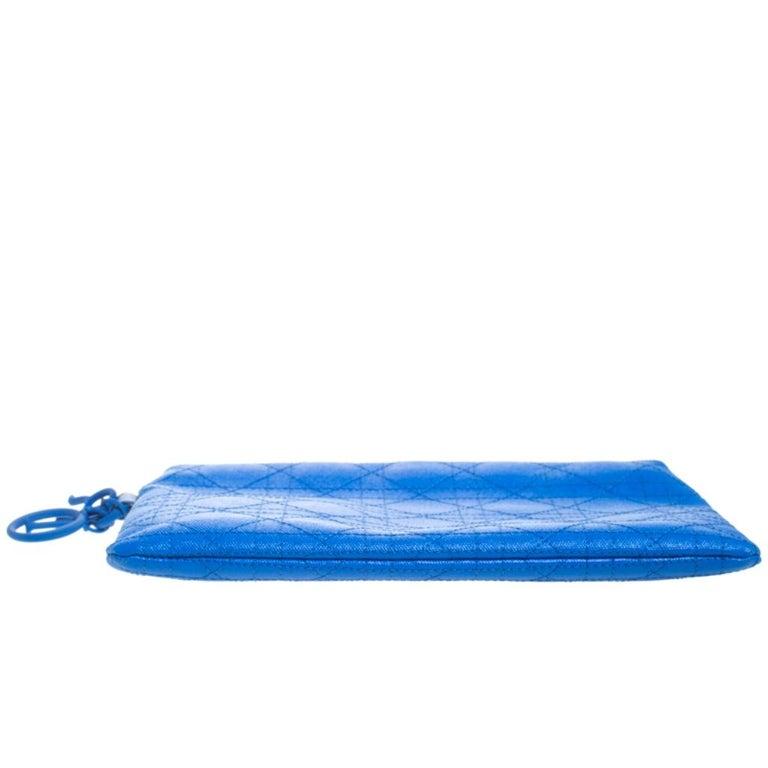 Dior Blue Cannage Coated Canvas Panarea Clutch For Sale 1