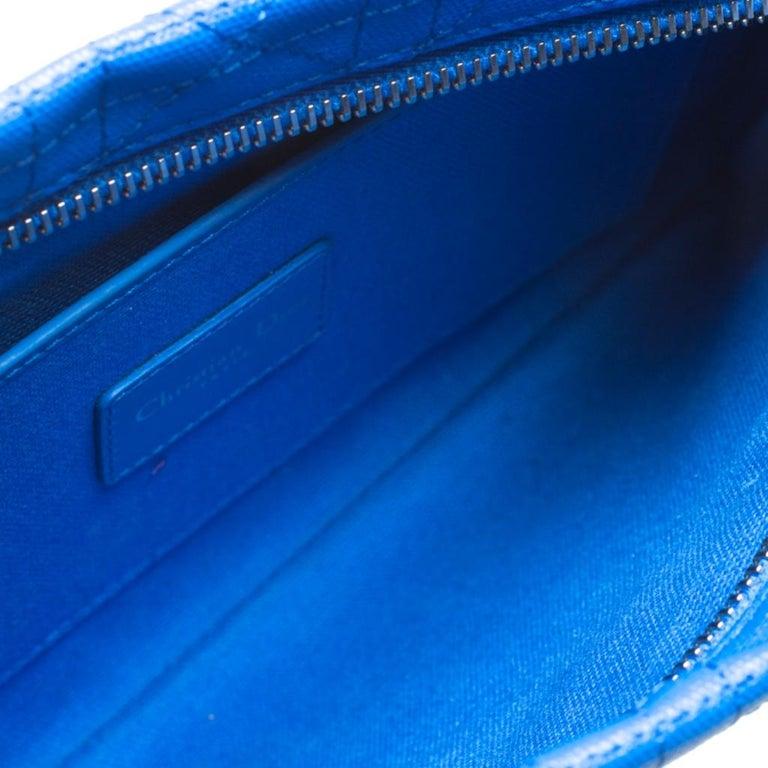 Dior Blue Cannage Coated Canvas Panarea Clutch For Sale 3