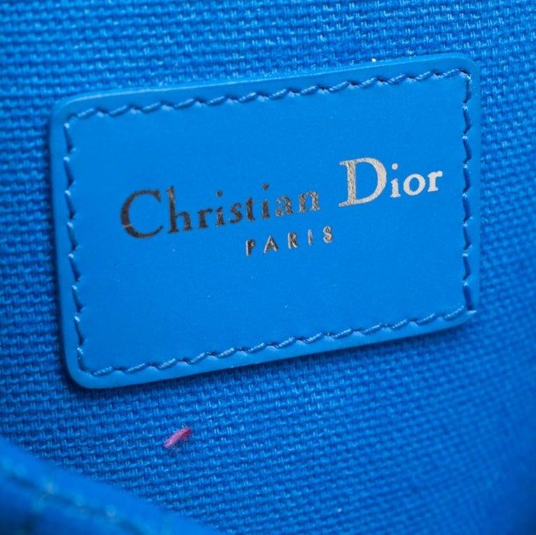 Dior Blue Cannage Coated Canvas Panarea Clutch For Sale 5