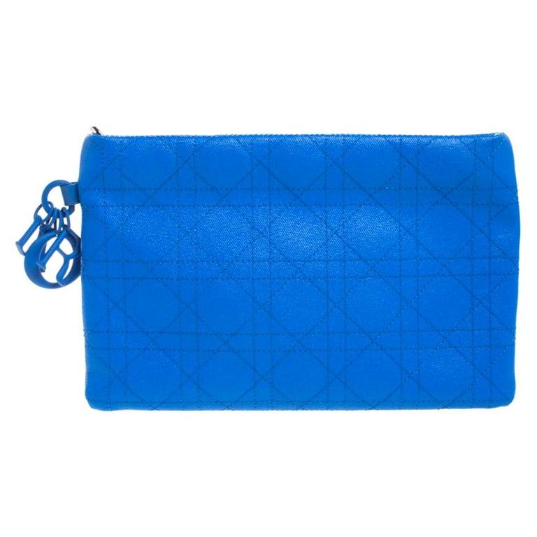Dior Blue Cannage Coated Canvas Panarea Clutch For Sale