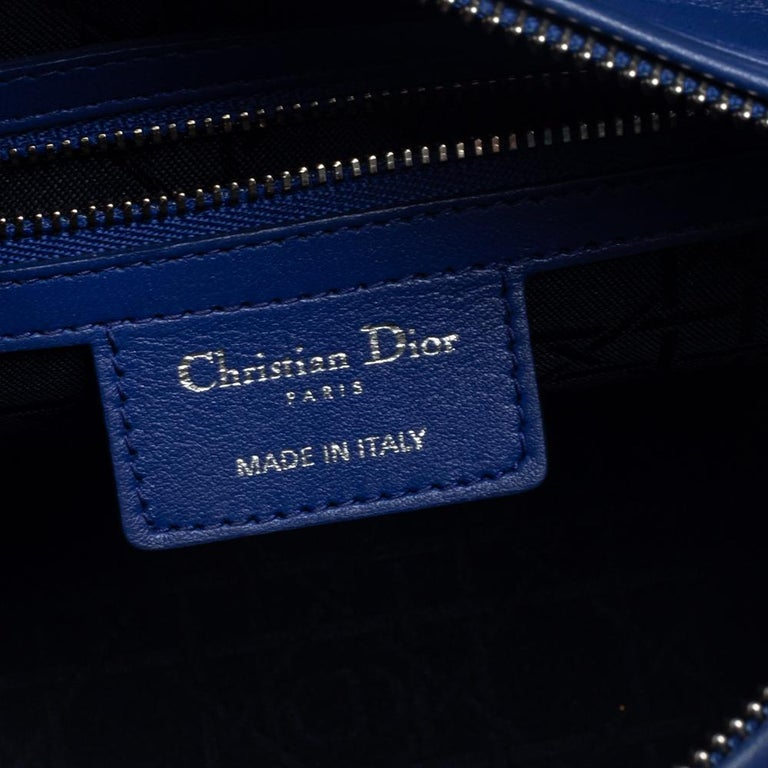 Dior Blue Cannage Leather Medium Lady Dior Tote For Sale 6