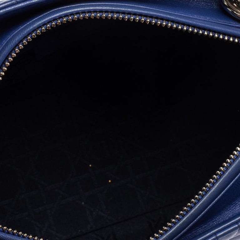 Dior Blue Cannage Leather Medium Lady Dior Tote For Sale 7
