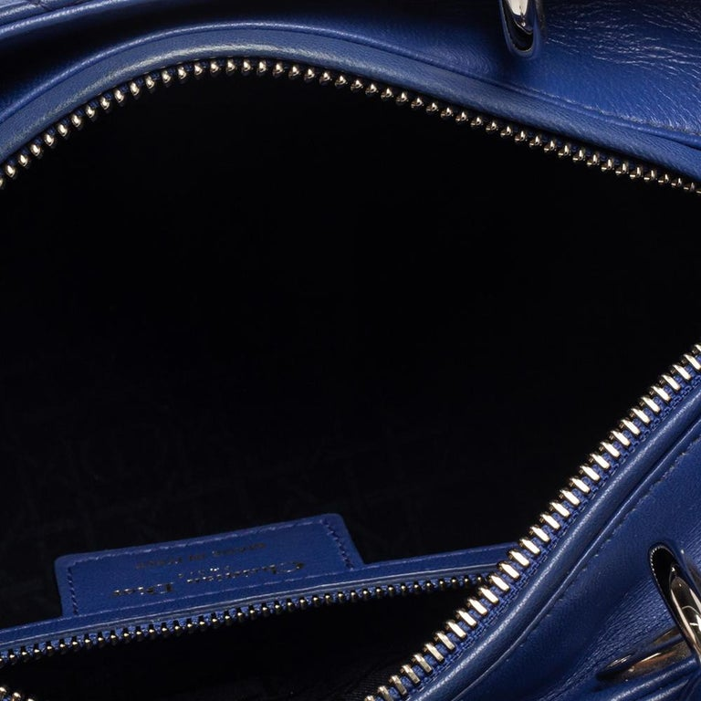 Dior Blue Cannage Leather Medium Lady Dior Tote For Sale 8