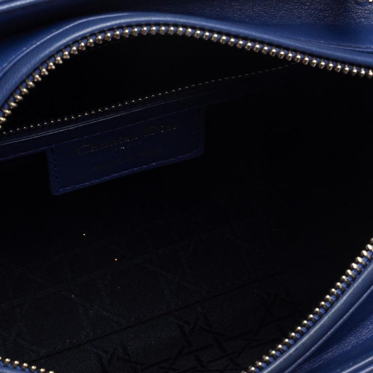 Dior Blue Cannage Leather Medium Lady Dior Tote For Sale 9