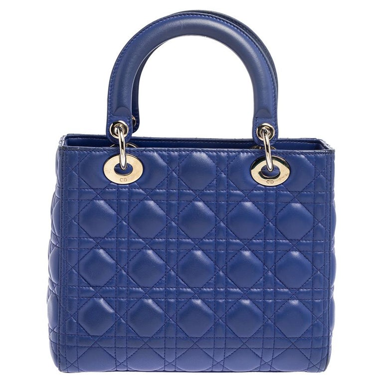 The Lady Dior tote is a Dior creation that has gained recognition worldwide and is today a coveted bag that every fashionista craves to possess. This blue tote has been crafted from leather and it carries the signature Cannage quilt. It is equipped