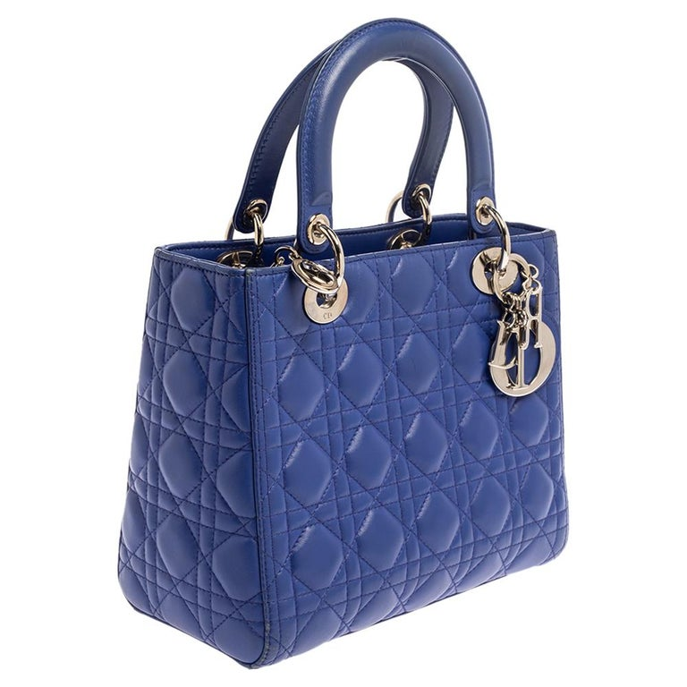 Women's Dior Blue Cannage Leather Medium Lady Dior Tote For Sale