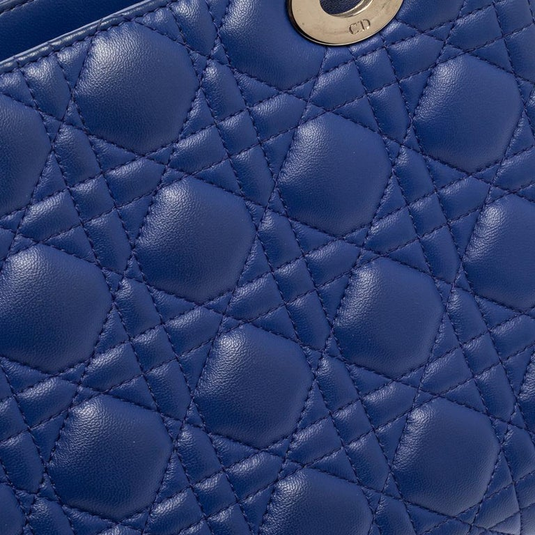 Dior Blue Cannage Leather Medium Lady Dior Tote For Sale 2