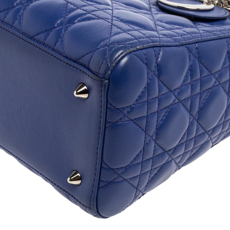 Dior Blue Cannage Leather Medium Lady Dior Tote For Sale 4
