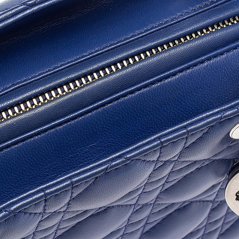 Dior Blue Cannage Leather Medium Lady Dior Tote For Sale 5