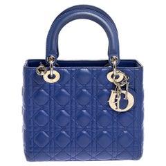 Dior Blue Cannage Leather Medium Lady Dior Tote