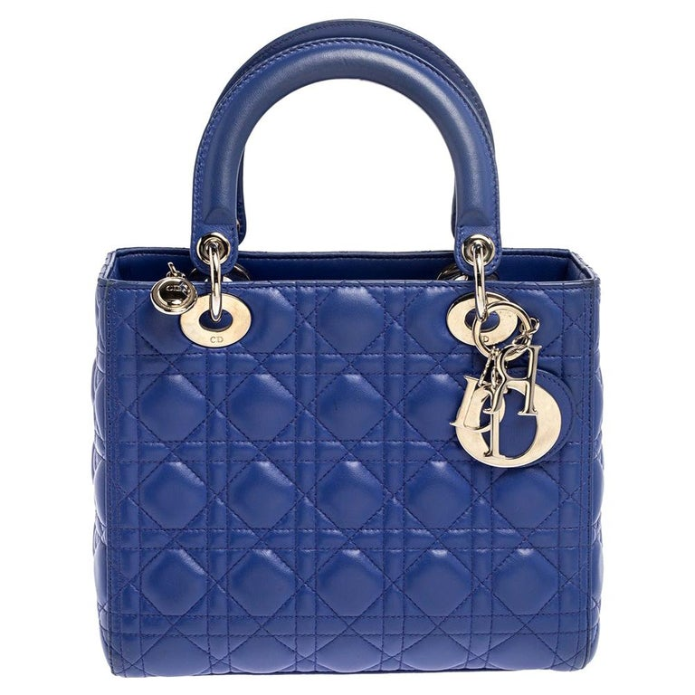 Dior Blue Cannage Leather Medium Lady Dior Tote For Sale