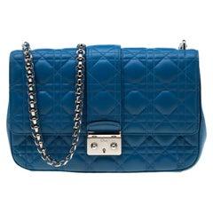 Dior Blue Cannage Leather Miss Dior Medium Flap Bag
