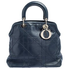 Dior Blue Cannage Quilted Leather Granville Tote