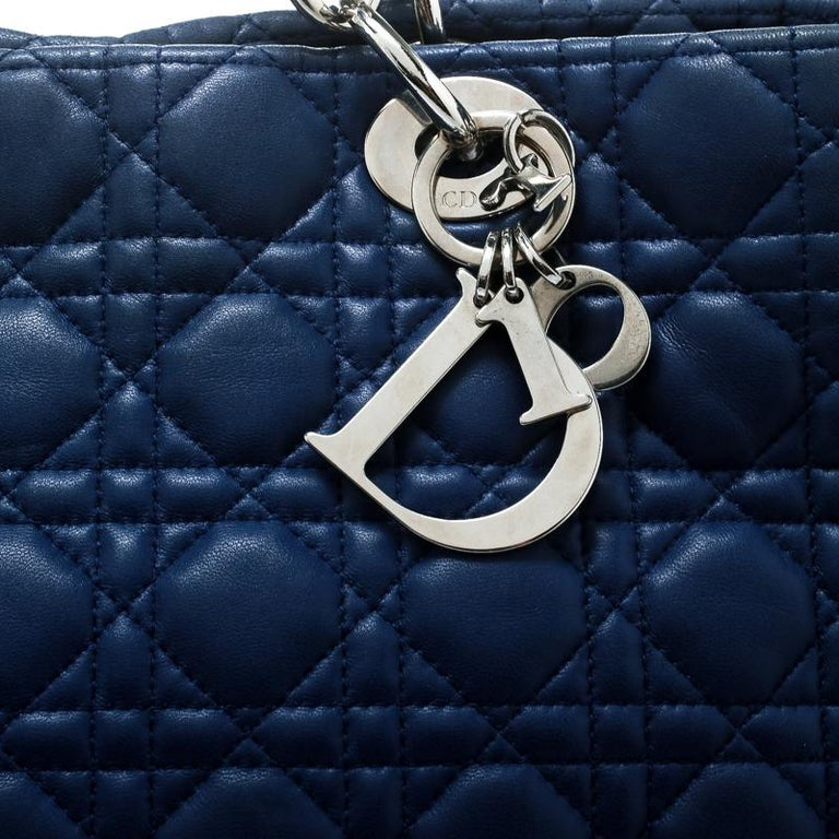 Dior Blue Cannage Soft Leather Large Shopper Tote For Sale 6