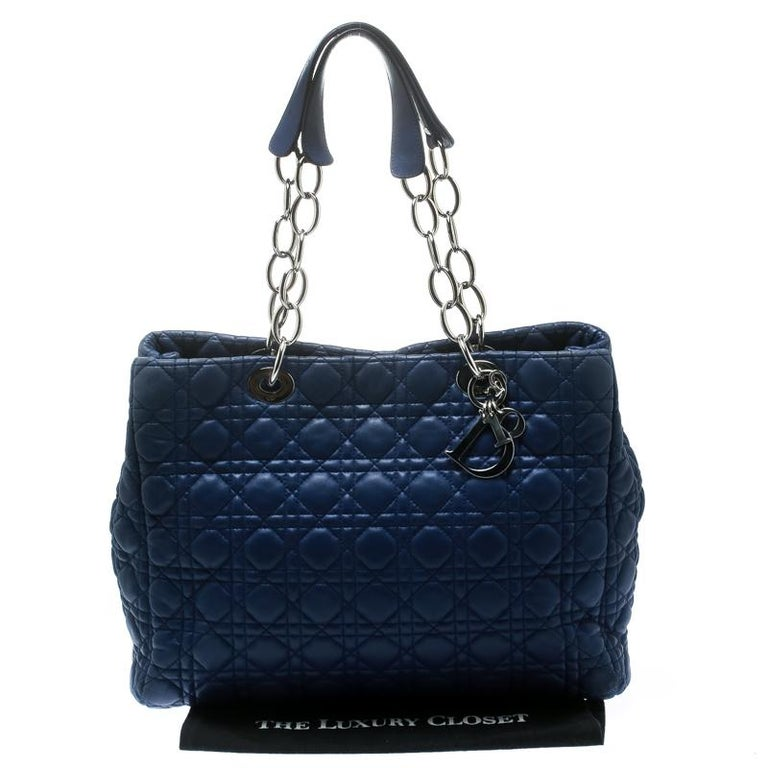 Dior Blue Cannage Soft Leather Large Shopper Tote For Sale 7