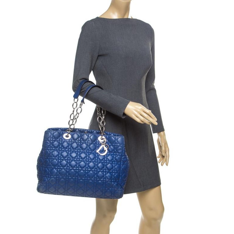 Black Dior Blue Cannage Soft Leather Large Shopper Tote For Sale