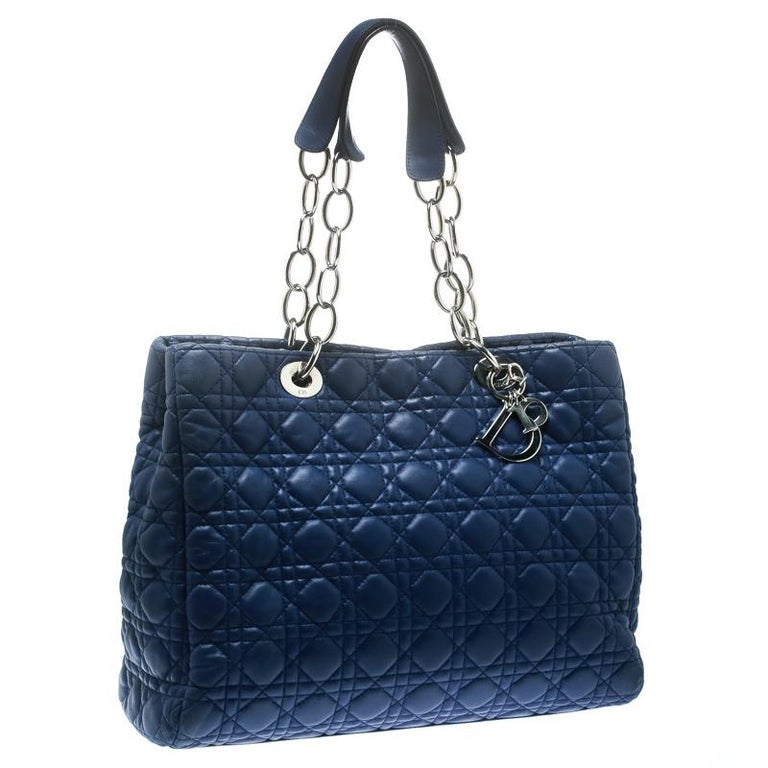 Dior Blue Cannage Soft Leather Large Shopper Tote In Good Condition For Sale In Dubai, Al Qouz 2