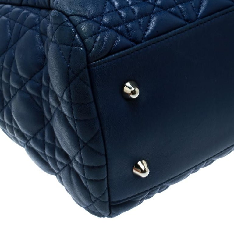 Dior Blue Cannage Soft Leather Large Shopper Tote For Sale 4