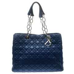 Dior Blue Cannage Soft Leather Large Shopper Tote