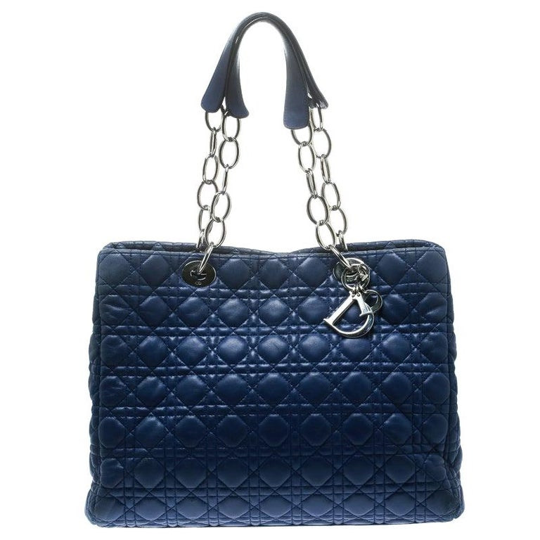 Dior Blue Cannage Soft Leather Large Shopper Tote For Sale