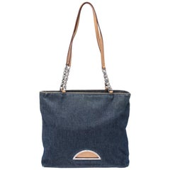 Dior Blue Denim and Leather Maris Pearl Tote