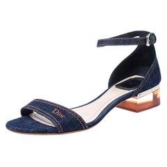 Dior Blue Denim Ankle Strap Block Heel Sandals Size 38.5