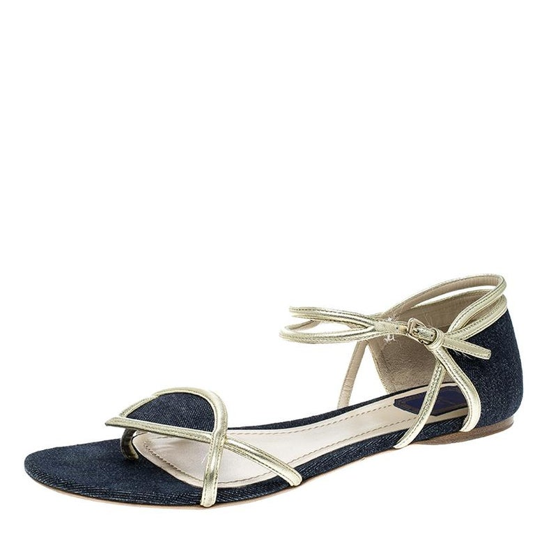 e6543105cae Dior Blue Denim Ankle Strap Thong Flat Sandals Size 40 at 1stdibs