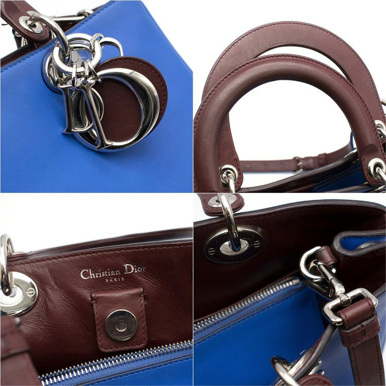 Dior Blue Embroidered Leather Diorissimo Tote Bag 32cm For Sale 5