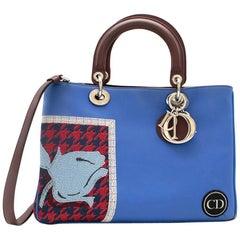 Dior Blue Embroidered Leather Diorissimo Tote Bag 32cm