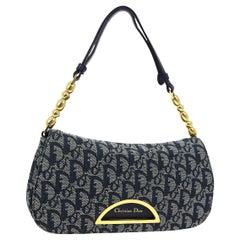 Dior Blue Fabric Monogram Oblique Gold Pochette Top Handle Satchel Bag