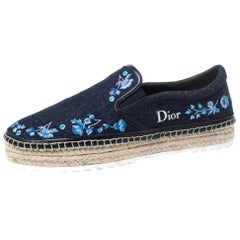 Dior Blue Floral Embroidery Denim Prairie Espadrille Loafers Size 38.5