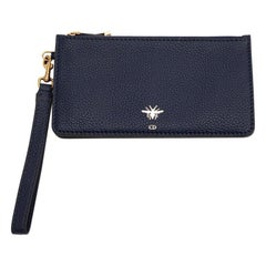 DIOR Blue Grained Leather Clutch