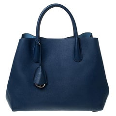 Dior Blue Grained Leather Large Open Bar Tote