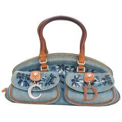 Dior Blue Jean Embroidered Floral Handbag