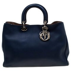 Dior Blue Leather Diorissimo Large Tote Bag