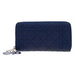 Dior Blue Leather Lady Dior Zip Around Wallet