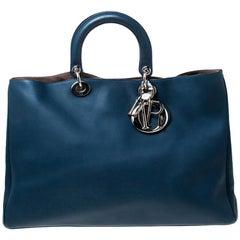 Dior Blue Leather Large Diorissimo Shopper Tote