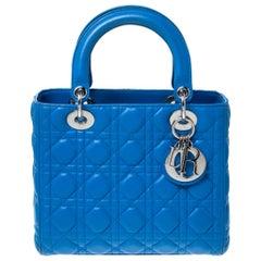 Dior Blue Leather Medium Lady Dior Tote