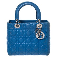 Dior Blue Leather Medium Lady Dior Tote
