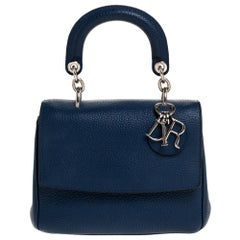 Dior Blue Leather Mini Be Dior Top Handle Bag