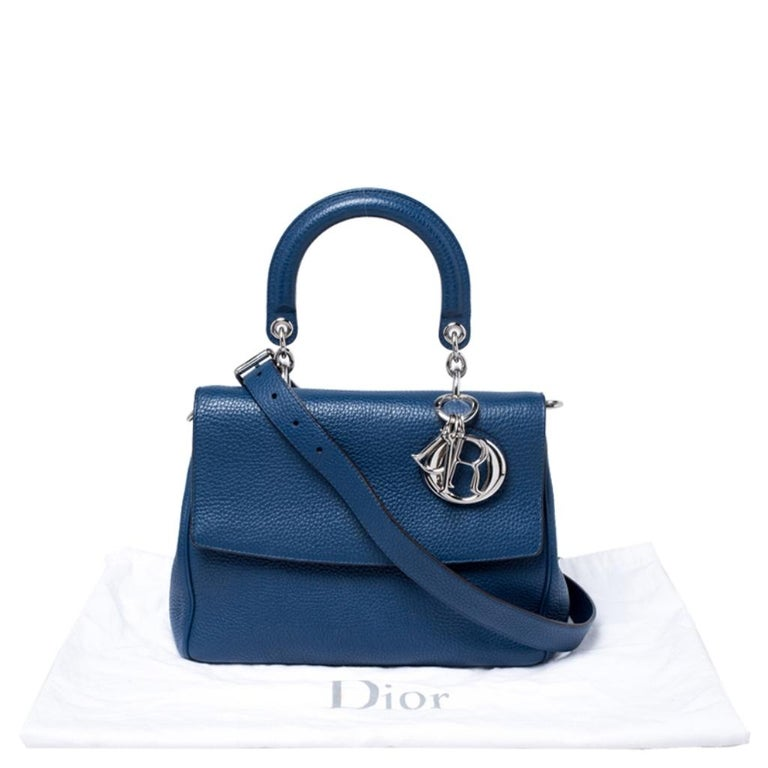 Dior Blue Leather Small Be Dior Flap Top Handle Bag For Sale 7