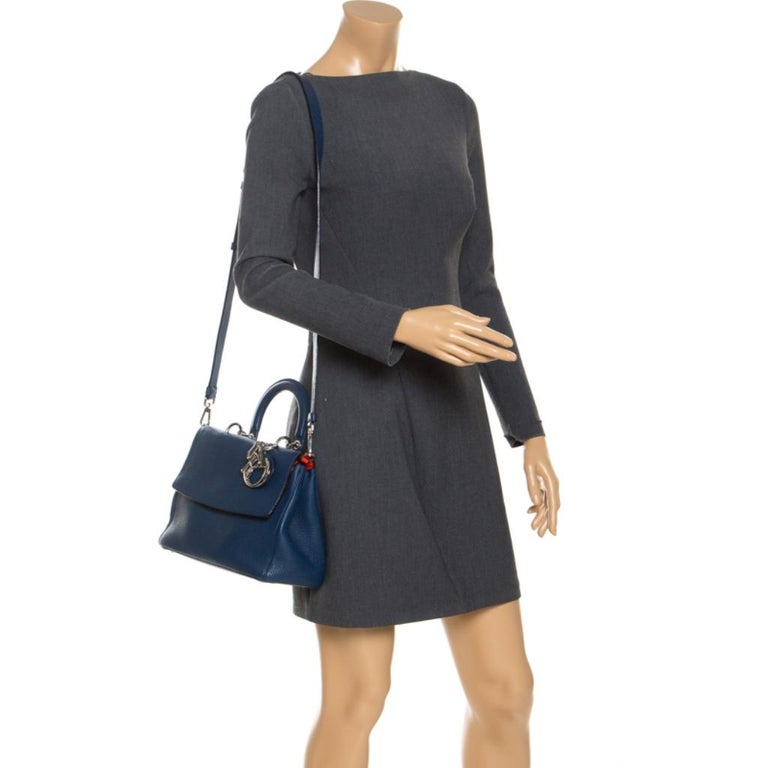 Dior Blue Leather Small Be Dior Flap Top Handle Bag In Good Condition For Sale In Dubai, Al Qouz 2