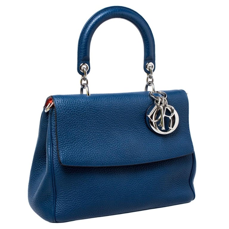 Women's Dior Blue Leather Small Be Dior Flap Top Handle Bag For Sale